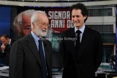 24/01/2013 Roma Porta a porta puntata su Agnelli, nella foto John Elkann ed Eugenio Scalfari