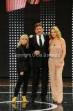 23/03/2014 Roma prima puntata della trasmissione di rai uno LA PISTA nella foto: i tre giurati Rita Pavone , Gigi Proietti, Claudia Gerini