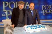 29/1/09 festeggiamenti per la puntata di porta a porta numero 1500, nella foto Vespa, con Marco Aleotti il regista della trasmissione