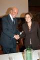 Umberto Veronesi e Lucia Annunziata presidente della RAI, conferenza stampa per la rai e la ricerca sul cancro, nelle foto anche Anna La Rosa direttore di tg-parlamento