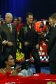 Michael Schumacher e Giovanni Trapattoni con Maria Grazia Cucinotta alla trasmissione Porta a porta