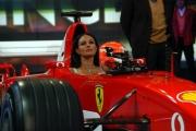 Maria Grazia Cucinotta seduta nella Ferrari F 2003 GA   alla trasmissione Porta a porta