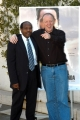 7/3/05Hotel Rwanda conferenza stampa romanelle foto: Paul RUsesabagina, l'uomo che ha ispirato la storia del filmcon il regista Terry George