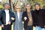 conferenza stampa del film: Vieni via con me .nelle foto: Mariangela Melato, Enrico Lucci, il regista Carlo Ventura, ed il musicista Enzo Gragnaniello che ha scritto le musiche.