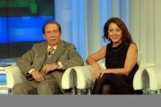 27/11/07 puntata di Porta a Porta sui quiz, nelle foto Mike Bongiorno con Sabina Ciuffini