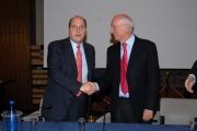 IPP/ Botteghi 22/12/08 Piero Angela festeggia in rai i suoi 80 anni con il direttore generale Claudio Cappon