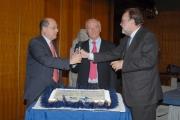 IPP/ Botteghi 22/12/08 Piero Angela festeggia in rai i suoi 80 anni con il direttore generale Claudio Cappon e il presidente Petruccioli