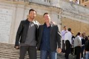 Foto IPP/Gioia Botteghi  Roma 14/04/2009 Presentazione a Roma sulla scalinata di Trinità dei Monti , del film;  X MAN , nella foto Hugh Jackman con il regista Brett Ratner
