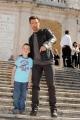 Foto IPP/Gioia Botteghi  Roma 14/04/2009 Presentazione a Roma sulla scalinata di Trinità dei Monti , del film;  X MAN , nella foto Hugh Jackman, un bambino, (turista) australiano lo ha riconosciuto ed è andato a salutarlo