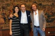 Foto IPP/Gioia Botteghi  Roma 17/09/2010 _ presentazione della trasmissione di raitre, NOVECENTO, nella foto Pippo Baudo con i due cantanti Emanuele Lucas e Caterina Soldati