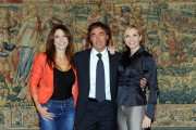 Foto/IPP/Gioia Botteghi Roma 30/09/2010 conferenza stampa di Domenica in, nella foto: Lorella Cuccarini con Massimo Giletti e Sonia Grey