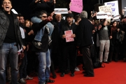 Foto/IPP/Gioia Botteghi Roma 28/10/2010 Festival del Cinema Di Roma, La protesta degli attori e dei tecnici, nella foto: l'occupazione del red carpet, Beppe Fiorello