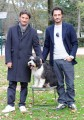 Foto/IPP/Gioia Botteghi Roma 21/12/2010 presentazione della fiction mediaset _ UN CANE PER DUE_ con Giorgio Tirabassi, Fabio Troiano e Spugna (il cane Miwok)