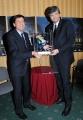 10foto Roma 7/02/2011 presentazione della puntata di San Remo dal titolo Nata per unire , per i 150 anni dell'unità d'Italia, nella foto: Gianni Morandi con il premio della serata con Mazzi