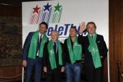 foto/IPP/Gioia Botteghi 14/12/2011 Roma, Conf Stampa Telethon, nella foto Fabrizio Frizzi e Paolo Belli, Luca Cordero e Paolo Garimberti