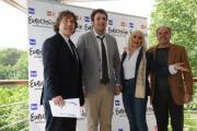 Foto IPP/Gioia Botteghi 4/05/2011 Roma, presentazione di Eurovision Raidue, nella foto: Il direttore di rete Massiomo Liofredi, Raphael Gualazzi, Raffaella Carrà, Sergio Japino