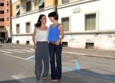 foto/IPP/Gioia Botteghi 07/08/2011 Roma, Primo Ciak della fiction IL DELITTO DI VIA POMA, canale 5, nella foto: Giulia Bevilacqua e Astrid Meloni nella vera via Poma