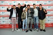 Foto/IPP/Gioia Botteghi Roma 29/10/2011 festival del cinema di Roma,Il paese delle spose infelici, nella foto: il regista Pippo Mezzapesa con i ragazzi del film