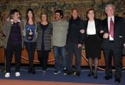 foto: Gioia Botteghi/IPP Roma, 27 aprile 2012. presentazione del concerto del primo maggio a Roma, nella foto: da sx Marco Godano l'organizzatore, Virginia Raffaele, Camusso, Pannofino, Angeletti, Lei, Bonanni