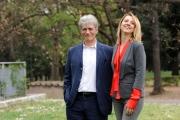 foto/IPP/Gioia Botteghi   05/04/2012 Roma,  presentazione della fiction di mediaset Benvenuti a tavola, nella foto: Fabrizio Bentivoglio e Debora Villa