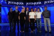foto:IPP/Gioia Botteghi 5/09/2012  Roma presentazione della nuova edizione di Porta a Porta, nella foto: Bruno Vespa con la redazione ed il regista Aleotti ( ultimo a destra )