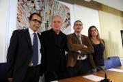 foto:IPP/Gioia Botteghi 22/10/2012  Roma presentazione del nuovo programma di Santoro Servizio Pubblico su la7, nella foto: Michele Santoro, Sandro Ruotolo , Paolo Ruffini e Giulia Innocenzi