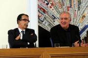 foto:IPP/Gioia Botteghi 22/10/2012  Roma presentazione del nuovo programma di Santoro Servizio Pubblico su la7, nella foto: Michele Santoro, Sandro Ruotolo