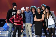 foto/IPP/Gioia Botteghi 12/01/2012 Roma, Presentazione del nuovo programma di Serena Dandini a la 7_ The Show must go off, nella foto : Dandini e Vergassola con il corpo di ballo