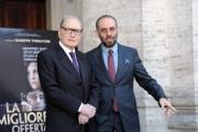 Foto/Gioia Botteghi 28/12/2012 Roma Presentazione del film La migliore offerta, nella foto: Giuseppe Tornatore,  Ennio Morricone