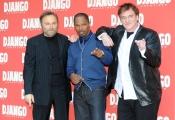 Foto/Gioia Botteghi 04/01/2013 Roma Presentazione del film DJANGO, nella foto: Quentin Tarantino Jamie Foxx Franco Nero