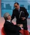 Foto/Gioia Botteghi 04/02/2013 Roma trasmissione  La7 L'aria che tira, ospite di Mirta Merlino Silvio Berlusconi con Vittorio Feltri