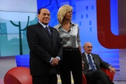 Foto/Gioia Botteghi 04/02/2013 Roma trasmissione  La7 L'aria che tira, ospite di Mirta Merlino Silvio Berlusconi