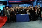 Foto/Gioia Botteghi 01/03/2013 Roma ad AGORA' il passaggio di conduzione da Andrea Vianello a Gerardo Greco i saluti della redazione al completo