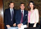 Foto/IPP/Gioia Botteghi 24/04/2013 Roma conferenza stampa del concerto del primo maggio, nella foto: Luigi Gubitosi, Andrea Vianello e Geppi Cucciari