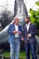 Foto/IPP/Gioia Botteghi 30/09/2013 Roma Beppe Grillo sfonda i cordoni di polizia davanti alla rai di viale Mazzini e proclama sotto il cavallo, con lui Fico