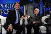 Foto/IPP/Gioia Botteghi 04/02/2014 Roma  puntata di porta a porta sui 60 anni della televisione, nella foto:  Paolo Limiti e Angelo Guglielmi