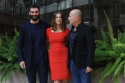 Foto/IPP/Gioia Botteghi 27/02/2014 Roma  presentazione del film Allacciate le cinture, nella foto: FERZAN OZPETEK con      KASIA SMUTNIAK, FRANCESCO ARCA