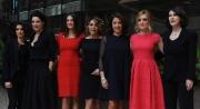 Foto/IPP/Gioia Botteghi 27/02/2014 Roma  presentazione del film Allacciate le cinture, nella foto: KASIA SMUTNIAK, CAROLINA CRESCENTINI,  ELENA SOFIA RICCI, CARLA SIGNORIS,PAOLA MINACCIONI, LUISA RANIERI, GIULIA MICHELINI