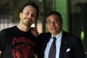 Foto/IPP/Gioia Botteghi 05/05/2014 Roma presentazione del nuovo programma di raitre NEMICO PUBBLICO_LIVE, nella foto il conduttore Giorgio Montanini ed il direttore di raitre Andrea Vianello