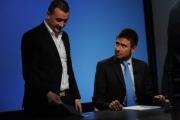 Foto/IPP/Gioia Botteghi 11/05/2014 Roma Alessandro Di Battista ospite di Lucia Annunziata con Rocco Casalino prima dell'inizio trasmissione