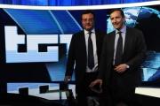 Foto/IPP/Gioia Botteghi   06/06/2014 Roma  il direttore generale della Rai Luigi Gubitosi presenta il nuovo studio del tg1 digitale con il direttore del tg Mario Orfeo