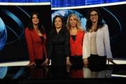 Foto/IPP/Gioia Botteghi     06/06/2014 Roma  il nuovo studio  digitale del tg1 , nella foto: Cecilia Primerano, Gabriella Capparelli, Alessandra Di Tommaso,  Maria Silvia Santilli