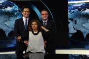 Foto/IPP/Gioia Botteghi     06/06/2014 Roma  il nuovo studio  digitale del tg1 , nella foto: Elisa Anzaldo, Alessio Zucchini, Marco Frittella