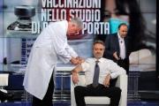 Foto/IPP/Gioia Botteghi   01/12/2014 Roma Vespa ed il vaccino in studio di Porta a porta , il medico Walter Marrocchi, il vaccinato Luca Pani