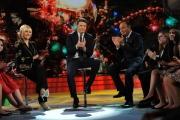 Foto/IPP/Gioia Botteghi 19/12/2014 Roma  serata speciale Un mondo da amare per rai uno, nella foto : Antinella Clerici e Bruno Vespa con Matteo Renzi