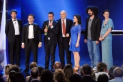 Foto/IPP/Gioia Botteghi 10/06/2014 Roma premio David di Donatello migliore canzone originale a Verità di Liccardo, Castagnola, Tartuffo, Garofalo, Ricciardi premia Caparezza