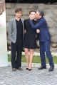 Foto/IPP/Gioia Botteghi 26/02/2015 Romapresentazione del film Nessuno si salva da solo,  nella foto Jasmine Trinca e Riccardo Scamarcio con Sergio Castellitto regista
