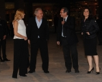 Foto/IPP/Gioia Botteghi 14/04/2015 Roma  serata di gala per la presentazione del film I BAMBINI SANNO, nella foto: Santoro con moglie e Roberto Zaccaria con Monica Gueritore