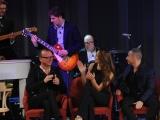 Foto/IPP/Gioia Botteghi 03/05/2015 Roma  quarta puntata del Maurizio Costanzo Show , nella foto: Carlo Verdone alla batteria con il figlio Paolo alla chitarra