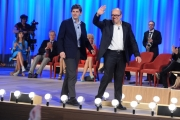 Foto/IPP/Gioia Botteghi 03/05/2015 Roma  quarta puntata del Maurizio Costanzo Show , nella foto: Carlo Verdone con il figlio Paolo